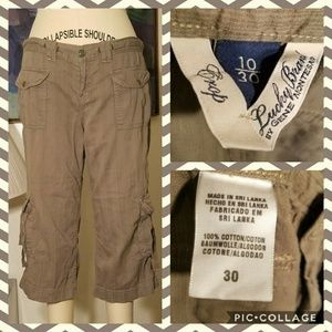 Lucky Brand Army Green Cargo Capri Pants